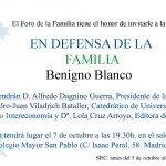 """Presentacion del libro de Benigno Blanco """"En defensa de la familia"""", 7 de Octubre 1"""