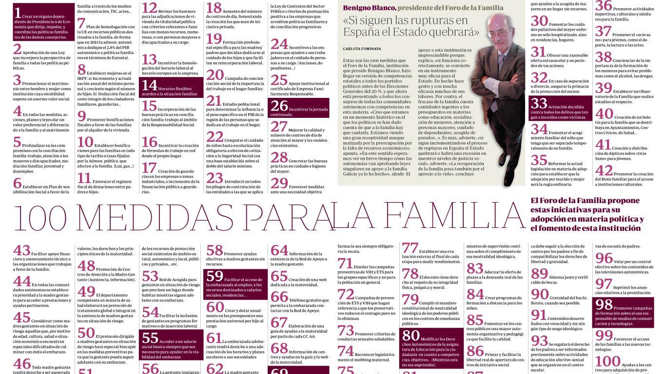 ABC Familia, 100 medidas de política familiar 1