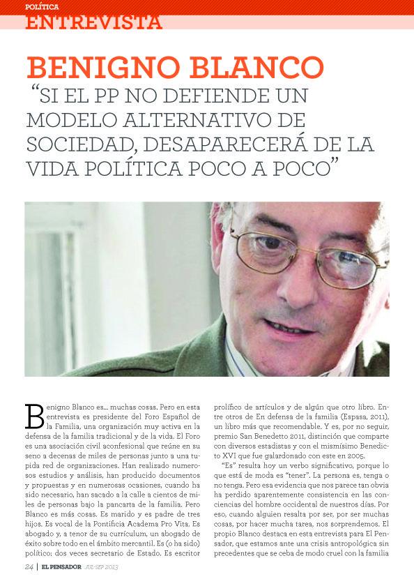 """""""Si el PP no defiende un modelo alternativo de sociedad, desaparecerá de la vida política poco a poco"""" 1"""