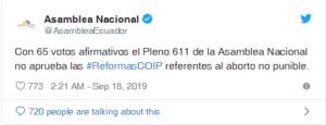 La Asamblea de Ecuador dice SÍ a la Vida 3